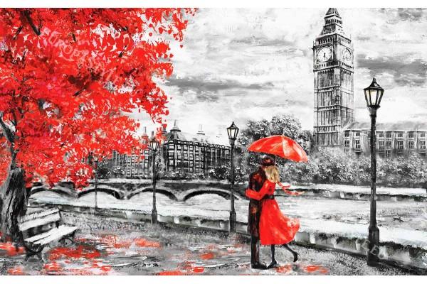 Фототапет от рисувана картина пейзаж на влюбена двойка в Лондон 2 цвята