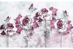Фототапет от картина с водни бои рози и пеперуди в 2 цвята