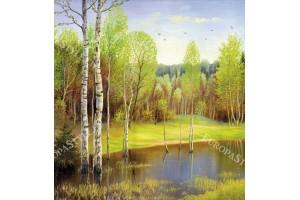 Фототапет пейзаж картина брези и езеро