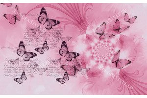 Фототапети арт пеперуди и цвете в 3 цвята