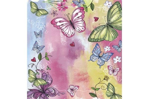 Фототапети шарени рисувани пеперуди арт фон