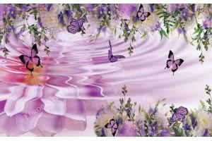 Фототапет лилава композиция с много цветя и пеперуди