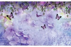 Фототапет дизайнерски лилав микс от пеперуди и хортензии