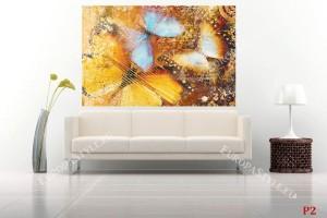 Фототапет винтидж стил пеперуди в оранжево