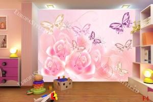 Фототапет нежни пеперуди и рози в пастелни тонове