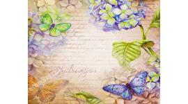 Фототапет арт винтидж стена с цветя и пеперуди