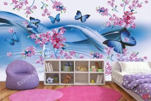 Фототапет нежни вълни от пеперуди в пастелно синьо в 2 варианта