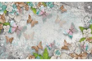 Фототапет композиция с пеперуди цветя и перли в 2 пастелни цвята