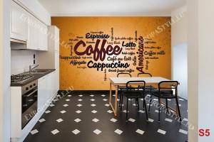 Фототапети кафе надписи в оранжев нюанс