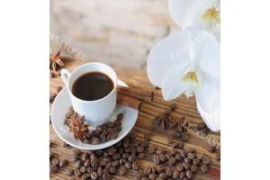 Фототапет чаша кафе и бели орхидеи