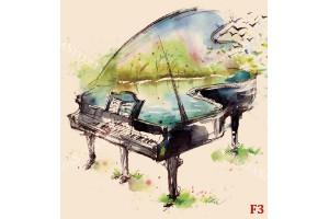 Фототапети арт рисувано пиано в 3 цвята