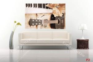 Фототапет дизайн с китара в кафяво