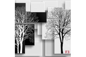 Фототапети 3д геометрични елементи в бяло и черно с графика