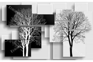 3д геометрични елементи в бяло и черно с графика