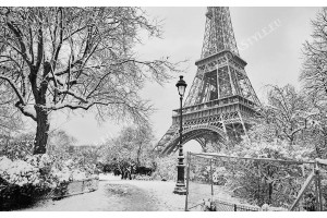 Фототапети айфеловата кула зимна приказка черно бял