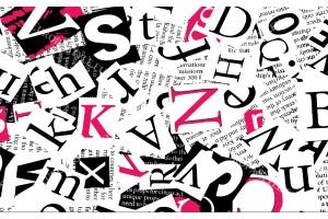 Фототапет модерни букви в 2 цвята