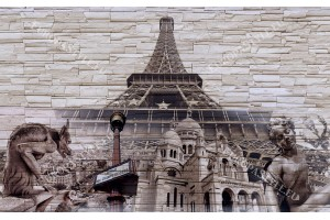 Фототапети композиция камък и Айфеловата кула в 3 цвята