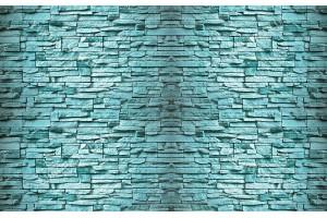 Фототапети камък реден имитация стена син-тюркоаз