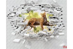 Фототапет разбита тухлена стена с леопард на дърво