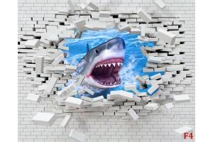Фототапет разбита тухлена стена с хищна акула