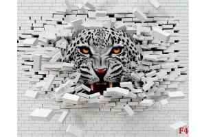 Фототапет разбита тухлена стена с хищен леопард в варианта