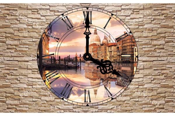 Фототапет каменна стена изглед през часовник Венеция