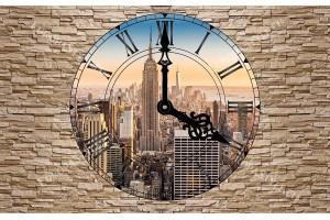 Фототапет каменна стена изглед през часовник Ню Йорк