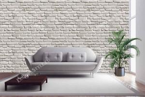 Фототапет имитация на бяла тухлена стена с релефни тухли 2 цвята