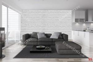 Фототапет имитация на сиво-бели тухли 2