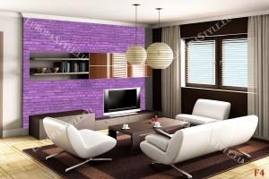 Фототапет имитация на стена от лилави тухли