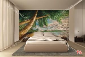 Фототапети модерна тухлена стена с пейзаж от палми