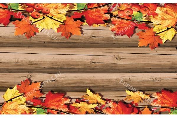 Фототапети дървена основа и есенни листа
