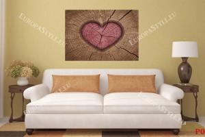 Фототапет дървена структура и форма на сърце