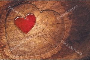 Фототапет дървена структура и форма на сърце 2