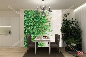 Фототапети стена със зелени листа модел 2