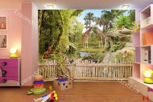 зоологическа градина парк с лъвове и жирафи