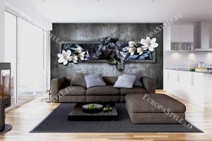 Фототапети оригинално 3д изображение на стена с черен леопард
