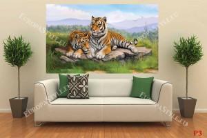 Фототапет двa тигъра рисувани легнали на скала
