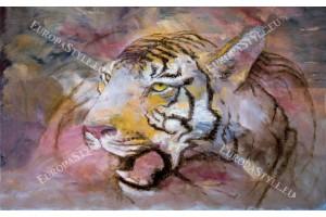 Фототапети глава на тигър рисувана в 3 цвята