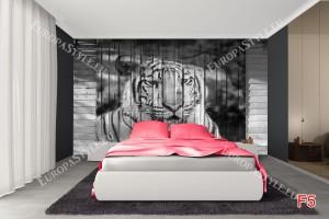 Фототапети глава на тигър рисувана върху врата