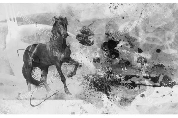 Фототапети арт стена с черен кон на мазилка