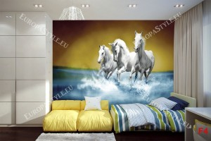 Фототапети тройка бели коне в галоп във вода