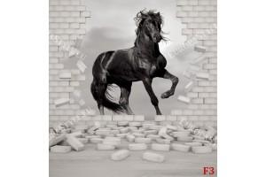 Фототапети черен кон на разбита тухлена стена