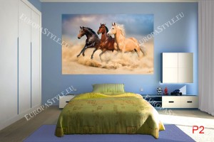Фототапети цветни коне на фон залез