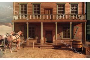 Фототапети ретро изглед с коне и американски тип къща