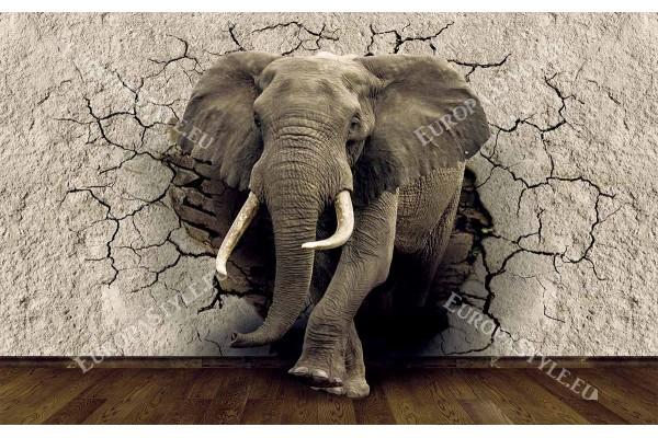 Фототапети 3D модел разбита стена – слон