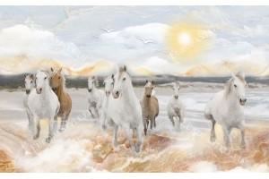 Фототапет рисувани арт коне в галоп в светли тонове