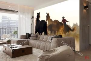 Фототапет диви коне с каубой