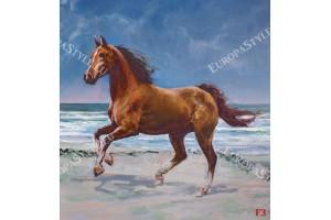 Фототапет рисуван кон на морски бряг