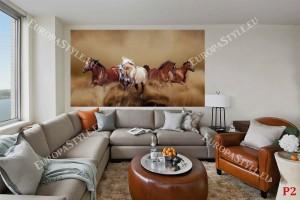 Фототапети красиви коне в галоп модел в 2 цвята
